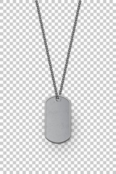 Empty silver military badge hanging on steel chain. Vector isolated army object on transparent background. Pendant with blank space for identification, blood type in case of death and injury.