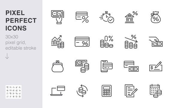 Money loan line icon set. Credit score, low interest, discount card, mortgage percent, tax minimal vector illustration. Simple outline signs for bank application. 30x30 Pixel Perfect Editable Strokes