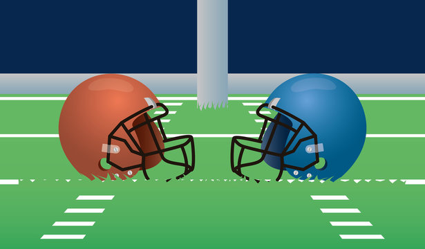 superbowl sport poster with helmets in stadium