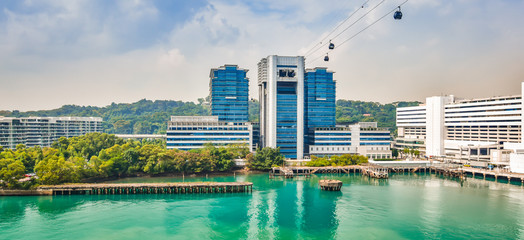 Wall Mural - Panoramic harbor and cable car view of Singapore, Asia.