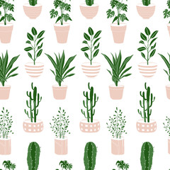 House plants cute seamless pattern. Home flowers in pots, vector flat illustartion for wrapping paper, baby textile fabric