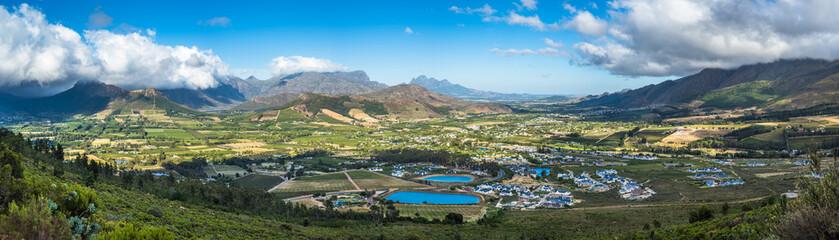 Foto auf Acrylglas Khaki Panoramic view of Franschhoek Valley, wine growing region in South Africa