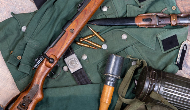 vintage background with german army field equipment. ww2