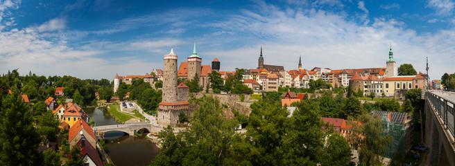 Panorama of beautiful historic city Bautzen (Budysin) in Upper Lusatia, Saxony, Germany, Europe Fotomurales