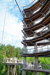 Lookout tower of the treetop path called Baumwipfelpfad directly on the Saarschleife in Saarland, Germany