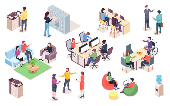 Set of vector office elements with people. Isometric coworking or open space elements for infographic or business icon for meeting. Man and woman work at workplace, reception. Interior design