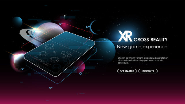 Gaming concept. Game over on portable console. Creative futuristic concept. Modern template for web and print. Cross reality concept.