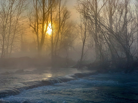 Mist on the river Adda in northern Italy.