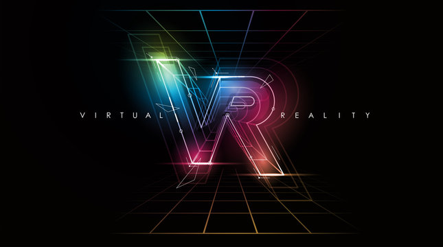 VR logo layout. Modern template for web and print. Virtual reality concept.