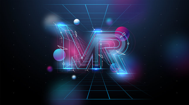 MR logo layout. Modern template for web and print. Mixed reality concept.