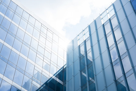 Low angle view of generic modern office skyscrapers