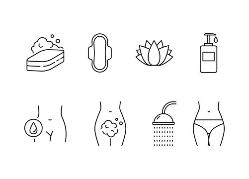 Intimate hygiene vector icons set line style
