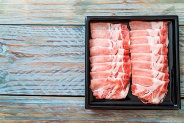 fresh pork sirloin sliced