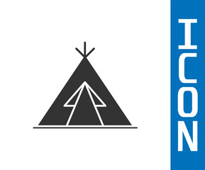 Grey Traditional indian teepee or wigwam icon isolated on white background. Indian tent. Vector Illustration
