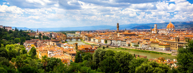 Panoramic view, aerial skyline of Florence Firenze on blue backdrop. Famous european travel destination. Beautiful architecture renaissance church. Summer landscape banner. Florence, Tuscany, Italy Fototapete