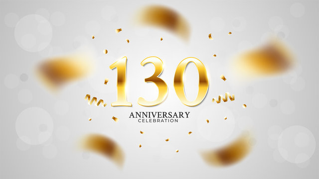 130th anniversary celebration with gold color and white background bokeh effects and sparkling confetti. modern elegant design can be used for a wedding or company. editable vector EPS 10