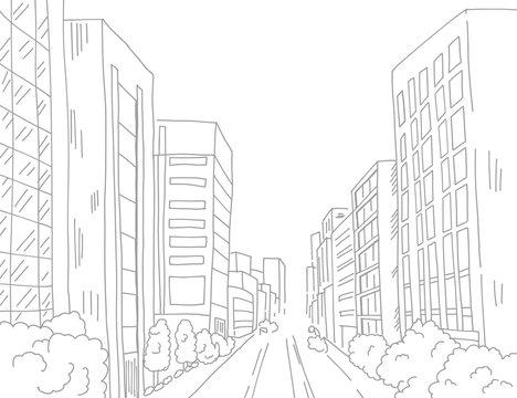 都会のビルビジネス街を線でシンプルに描いた背景画