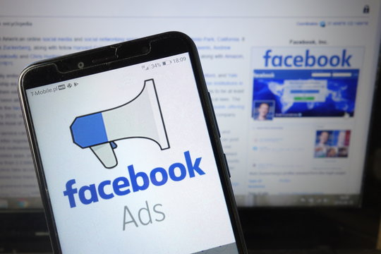 KONSKIE, POLAND - August 18, 2019: Facebook Ads logo on mobile phone