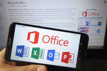 KONSKIE, POLAND - August 18, 2019: Microsoft Office logo on mobile phone