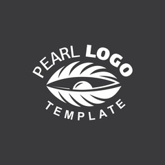 Pearl Logo white color cockle silhouette black background