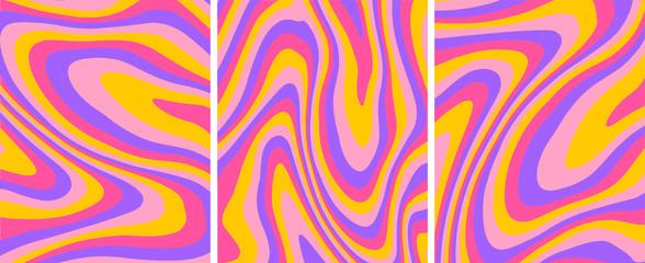 Fotorollo Abstrakte Welle Retro psychedelic abstract art template set,vector