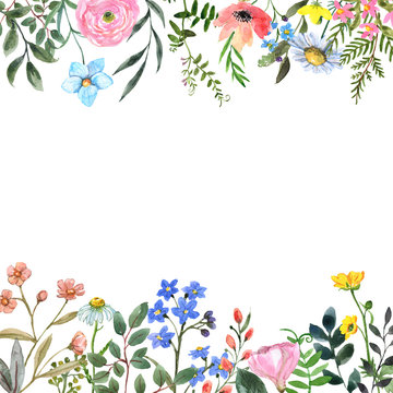 Watercolor wildflower border frame with blank space for text. Hand drawn pink, yellow, blue meadow flowers and herbs. Botanical frame for design.