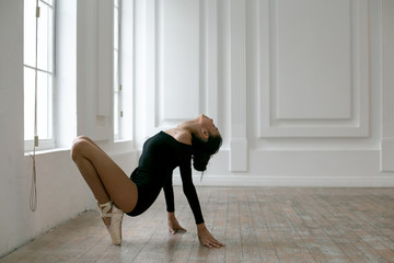 horizontal photo of a young ballerina in black leotard