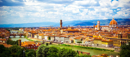 Garden Poster Florence Panoramic view, aerial skyline of Florence Firenze Cathedral of Santa Maria del Fiore, Ponte Vecchio bridge over Arno River, Giotto Bell Tower. Summer cityscape banner. Florence, Tuscany, Italy