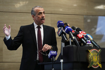 Director of the Central Agency for Public Mobilization and Statistics, Khairat Barakat, speaks during a news conference announcing that Egypt's population has hit 100 million, in Cairo, Egypt