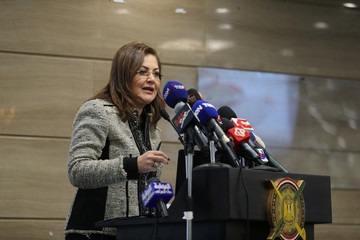 Egypt's Minister of Planning, Hala Helmy, speaks during a news conference at the Central Agency for Public Mobilization and Statistics, announcing that Egypt's population has hit 100 million people, in Cairo, Egypt