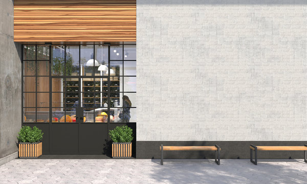 The facade of a store or cafe with an entrance group and blank wall in front view. Free space for signage, advertising banners and posters. Exterior and architecture design. 3D render.