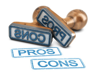 Pros and cons rubber stamps over white background.