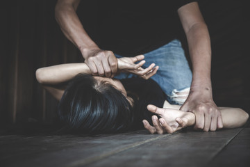 Woman victim of domestic violence and abuse. Sexual harassment and rape. human rights