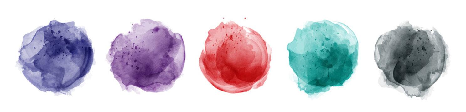 Set of hand drawn splash watercolor