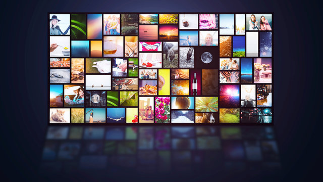 Streaming TV internet service multiple channels screen background