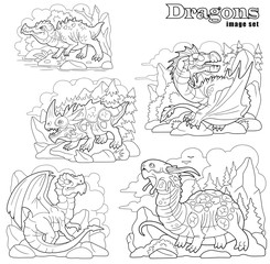cartoon ancient dragons, coloring book, set of funny images