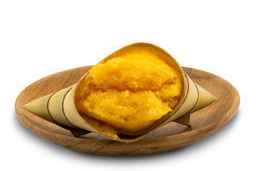 Fototapete - Local Thai style dessert Toddy Palm Cake in a wooden plate on white background with clipping path.