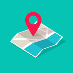 Map icon isometric with destination location pin pointer vector illustration flat cartoon, concept of GPS position symbol or direction route pictogram with city road street modern design image