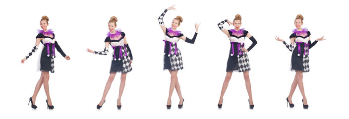 Wall Mural - A girl in harlequin costume isolated on white