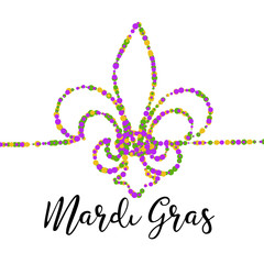 Mardi Gras carnival greeting card, traditional symbol of mardi gras fleur de lis. Confetti bead continuous line heraldic lily on white background. Fat tuesday mardigras carnaval vector illustration