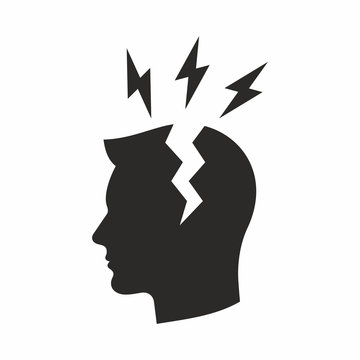 Headache icon. Vector icon isolated on white background.