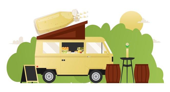 Smoothie summer cafe, food truck street van with healthy refreshments, vector illustration. Outdoor cafe in summer park, raw vegetarian smoothie from healthy organic ingredients. Fruit juice milkshake