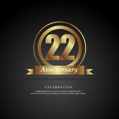 22nd anniversary golden logo text decorative. With dark background. Ready to use. Vector Illustration EPS 10