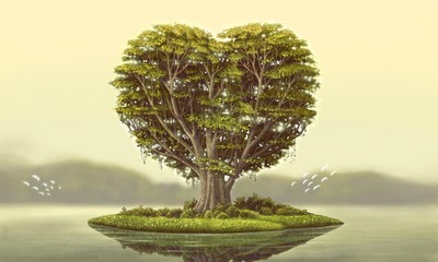 Heart tree island with river, surreal painting