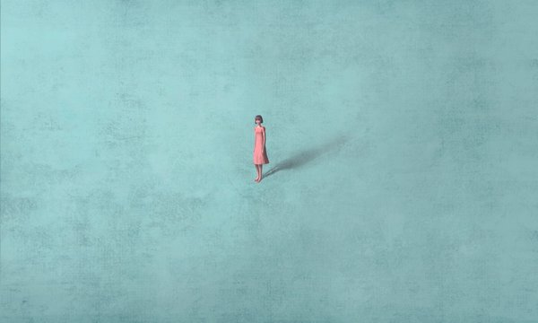 Woman alone in blue, surreal painting