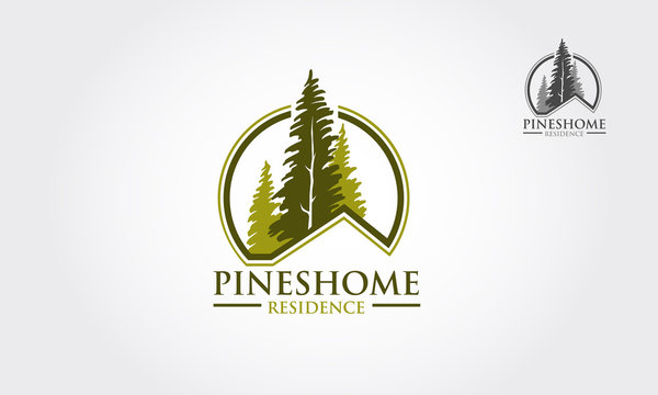 Pines Home  Logo sample, vector template