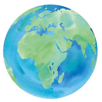 地球の水彩イラストのトレースベクター(ヨーロッパ、アフリカ、アジア、中東)