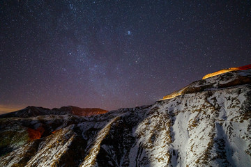 Amazing night sky in High Atlas mountains, Morocco
