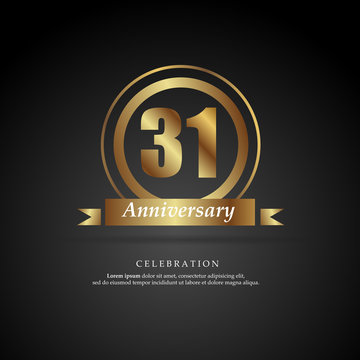 31st anniversary golden logo text decorative. With dark background. Ready to use. Vector Illustration EPS 10