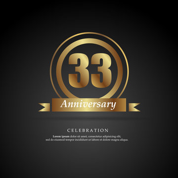 33rd anniversary golden logo text decorative. With dark background. Ready to use. Vector Illustration EPS 10